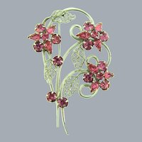 Signed Phyllis floral Brooch with pink rhinestones
