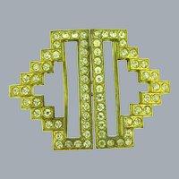 Vintage 2 pc Art Deco Belt Buckle with crystal rhinestones