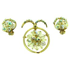 Unusual vintage Brooch and clip-on Earrings with AB rhinestones and crystal beads