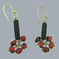 Vintage sterling silver wire dangle pierced Earrings