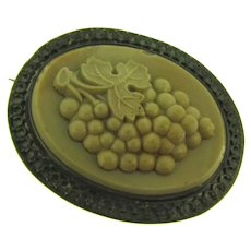 Antique early unusual large Brooch with center figural grape design glass faux cameo