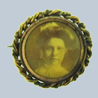 Vintage small mourning Scatter Pin with picture of a Victorian woman