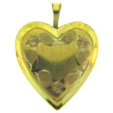 Signed 14 KT GF PPC heart shaped Locket with chased floral design