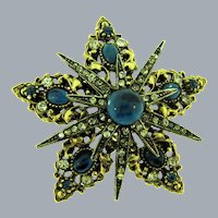 Signed ART tiered star shaped Brooch with crystal and blue rhinestones and blue cabochons