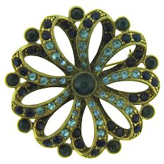 Signed LC large figural bow Brooch with light and dark blue rhinestones and cabochons