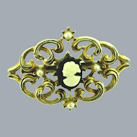 Vintage small Brooch with faux plastic cameo and imitation pearls