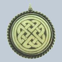 Vintage large Celtic knot porcelain Pendant