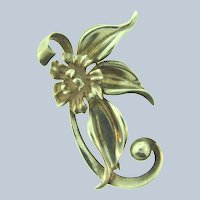 Marked Sterling large heavy floral Brooch