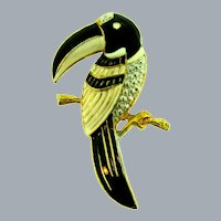Vintage large figural toucan bird enameled Brooch