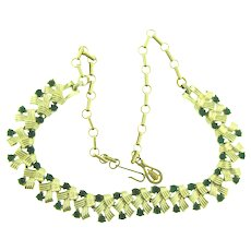 Vintage mid Century signed Coro choker link Necklace with green rhinestones