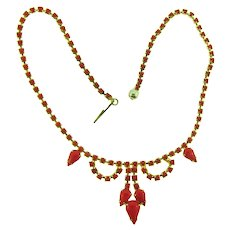 Vintage mid Century choker Necklace with solid red rhinestones