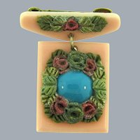 Vintage early plastic two part Brooch with glass turquoise cabochon