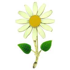Vintage 1960's figural daisy flower Brooch with enamel