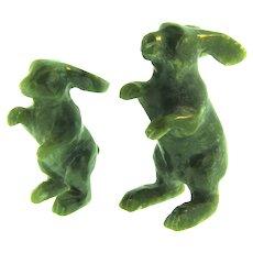 Vintage nephrite jade rabbit Figurines