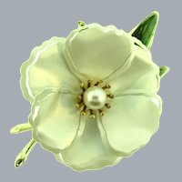 Vintage large white enamel flower Brooch with green enamel leaves