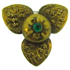 Vintage early 1900's floral gold tone Brooch with green glass bead