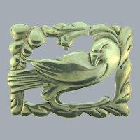 Marked Sterling silver figural bird in frame Brooch