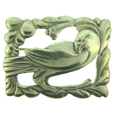 Marked Sterling silver figural bird in frame Brooch