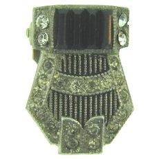 Vintage petite Art Deco Dress Clip with crystal and black rhinestones