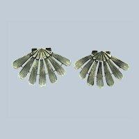 Vintage silver tone shell shaped Shoe Clips