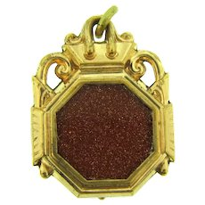 Antique early Locket Pendant with gold stone decoration