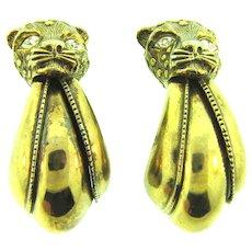Vintage very large figural leopard clip-on Earrings with crystal rhinestone eyes