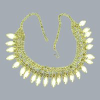 Vintage gold tone choker Necklace with crystal rhinestones