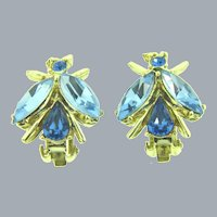 Signed Dodds vintage figural fly clip-on Earrings with blue rhinestones