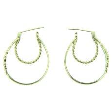 Marked 925 NV sterling silver double hoop pierced Earrings with floral enamel design