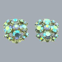 Vintage cluster clip-on Earrings with blue AB rhinestones