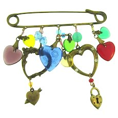 Vintage safety pin Brooch with dangling heart and bead charms