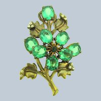 Vintage large pot metal 1940's floral Brooch with green and crystal rhinestones