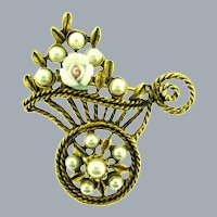 Vintage figural wheelbarrow Brooch with imitation pearls and bisque flower