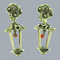 Marked 800 silver Etruscan design figural lantern clip-on Earrings with coral colored beads