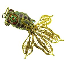 Vintage enameled articulated figural fish Pendant with gold tone wire fan tail