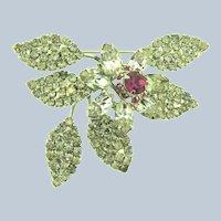 Vintage mid Century floral Brooch with crystal and dark pink rhinestones