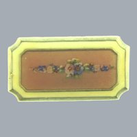 Vintage small pink guilloche Brooch with floral painted design
