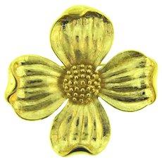 Signed Trifari TM vintage gold tone dogwood flower Brooch