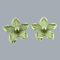 Signed Pastelli silver tone flower clip-on Earrings