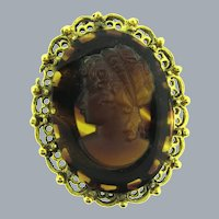 Vintage faux tortoise shell glass cameo in gold tone frame