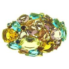 Beautiful vintage colorful 1960's rhinestone Brooch