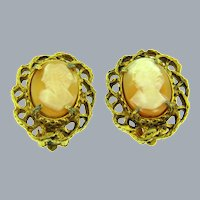 Signed Florenza vintage shell cameo clip-on Earrings