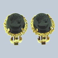 Vintage black glass Cameo clip-on Earrings