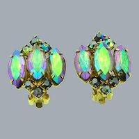 Vintage colorful AB rhinestone clip-on Earrings