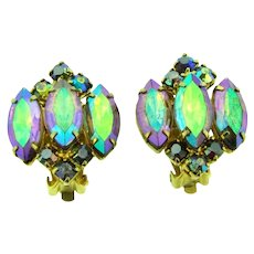 Vintage colorful AB rhinestone clip-on Earrings