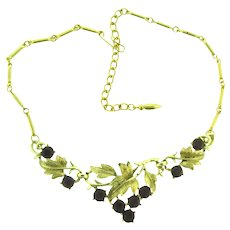 Signed Coro vintage choker Necklace with grape leaves and purple grape rhinestones