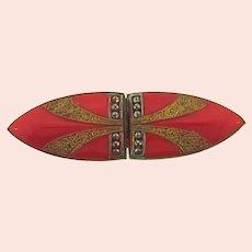Marked Czechoslovakia vintage red enamel Belt Buckle