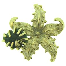 Vintage figural starfish Brooch with jade stone