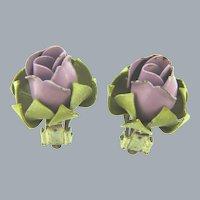 Vintage purple flower bud enamel clip-on Earrings