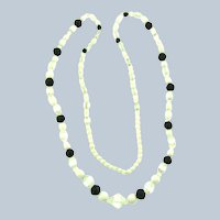 """Vintage beaded 30"""" Necklace with white, black and crystal beads"""